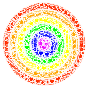 Rainbow! word cloud art