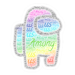 rainbow among us word cloud art