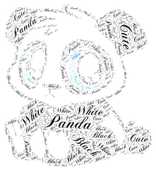 CUTE PANDA word cloud art