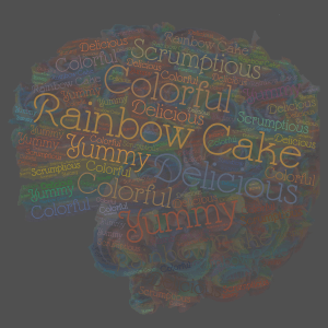 Rainbow Cake word cloud art