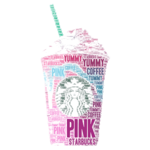 Pink Starbucks! word cloud art