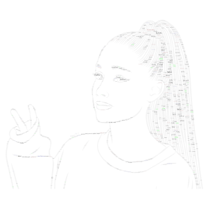 Ariana Grande with some green word cloud art