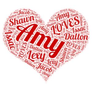 AMY LOVES word cloud art