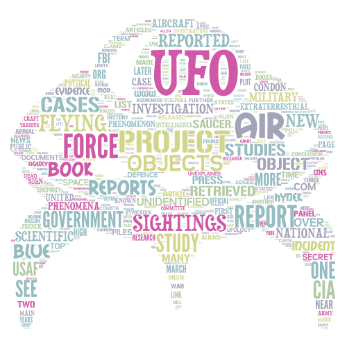 UFO word cloud art