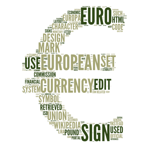 Euro currency word cloud art