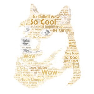 DOGE word cloud art