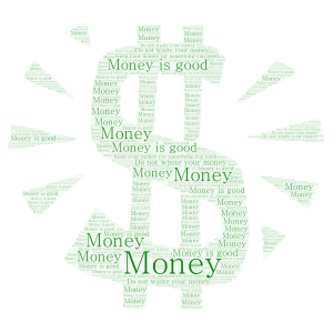 Money!!! word cloud art