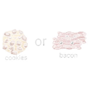 cookies or bacon???? word cloud art