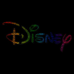 Disney word cloud art