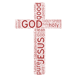GOD, JESUS, AND THE HOLY SPIRIT word cloud art
