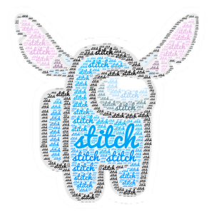 stitch as a among charactor word cloud art