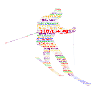 Put a heart if you Love to ski!! word cloud art