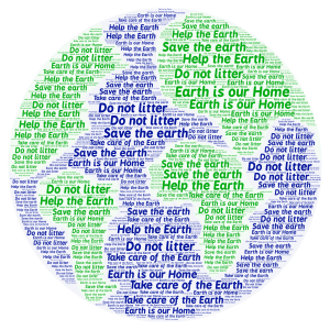 Earth word cloud art