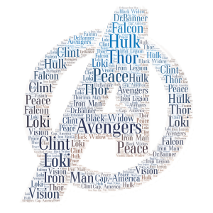 The Avengers word cloud art