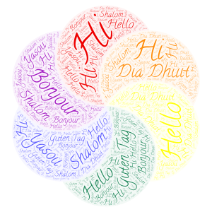 Hi/Hello In Different Languages  word cloud art
