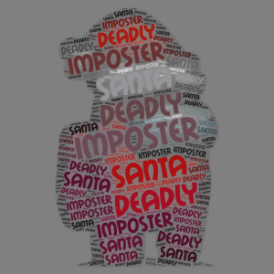 Imposter Santa word cloud art