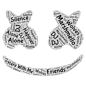 Marshmello Madness word cloud art