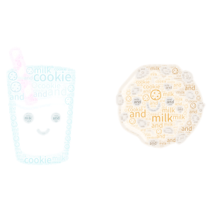 cookie 🍪 and milk🥛 >:}  >:3 word cloud art