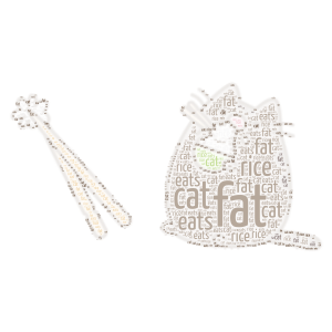 fat cute cat eats rice word cloud art