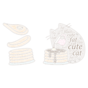 fat cute cat makes pancakes word cloud art